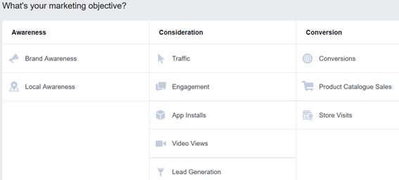 facebook ads - marketing objective