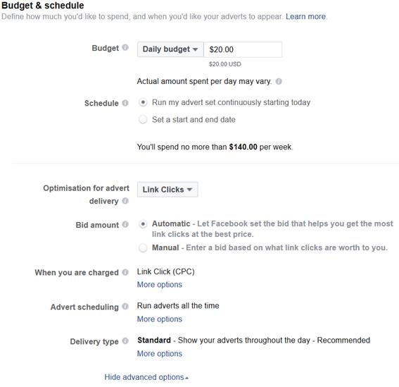 facebook ads budget & schedule
