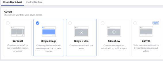 facebook ads - advert format