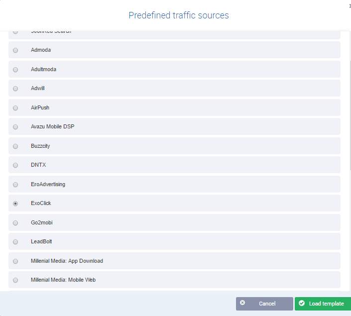 voluum predefined traffic sources